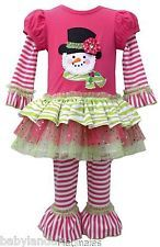 Bonnie Jean Christmas Tu-Tu Dress Embroidered Top Hat Snowman 2-3-4 Years