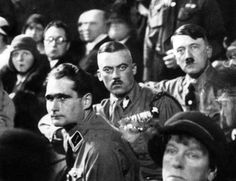 Hess, von Salomon and Adolf Hitler in 1929. The woman in the front is Elsa Bruckmann, who gave (literally) millions of Reichsmarks to Hitler and the Nazi party in the 1920′s.