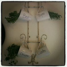 Indoor herb garden. What a great way to personalize your garden with some great cups and a cup holder.