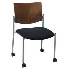 KFI Seating Evolve Armless Guest Chair Frame Finish: Chocolate, Seat Finish: Navy Vinyl