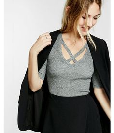 Marled Crossover Front V Neck Top Marled Women's X Small