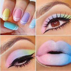 Rainbow lips and nails!!