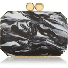 Stella McCartney Marbled acetate box clutch ($960) ❤ liked on Polyvore featuring bags, handbags, clutches, stella mccartney, bolsas, clutch bag, black, hand bags, hardcase clutch and hard clutch