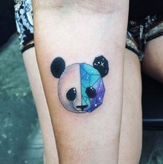 60 Creative and Cool Cosmic Tattoo Designs Geometric space panda by Kaitlin Dutoit Line Tattoos, Trendy Tattoos, Sexy Tattoos, Body Art Tattoos, Tattoos For Guys, Space Tattoos, Simbolos Tattoo, Kopf Tattoo, Geometric Shape Tattoo