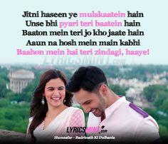Humsafar - Badrinath Ki Dulhania Lyrics Quote / Filmy Quotes from Bollywood