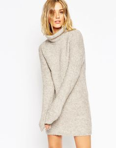 ASOS Tunic In Boucle Knit With Funnel Neck