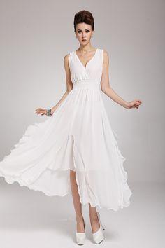 Fashion Elegant V Neck Sleeveless Asymmetrical White Chiffon Ankle Length Dress