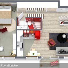 RoomSketcher Wohnprojekt: Kleine Wohnung < 50m² - Mit einem Raumplaner auch für klitzekleine Wohnungen die beste Aufteilung und Einrichtung finden. Arbeiten, …