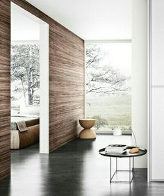 panelled wall, concrete floor, white & light walls in the fishbowl room Modern Interior, Interior Styling, Interior Architecture, Interior Decorating, Interior Walls, Style At Home, My Living Room, Living Spaces, Beton Design