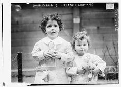 Louis & Lola? Titanic survivors. Photo taken before the 'orphans' of the Titanic were fully identified. The boys are French brothers Michel (age 4) and Edmond Navratil (age 2). To board the ship, their father assumed the name Louis Hoffman and used their nicknames, Lolo and Mamon. Their father died in the disaster of the RMS Titanic.