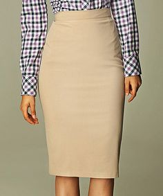 NIFE Beige Classic Pencil Skirt