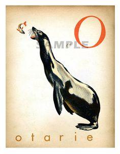Lettres W O J Wapiti Otarie Jaguar Vintage par ChildsTouch