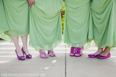 Fun hot pink shoes to accent the sage bridesmaid dresses.  www.nickwelshphotography.com