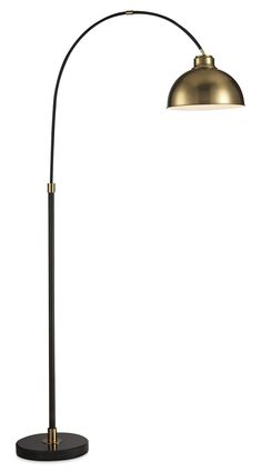 Home Accessories - Black Arc Floor Lamp with Gold Metal Shade