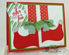 www.PattyStamps.com - Elf Shoes Christmas card with the Top Note Die and Big Shot - perfect for the Elf on a Shelf enthusiasts!