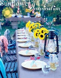 sunflower wedding ~ Another decorating idea. I think the lanterns are pretty too, but it may not be your thing.