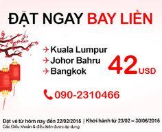 AirAsia Khuyến Mãi Đi Bangkok, Kuala Lumpur Và Johor Bahru Giá Vé Từ 42USD