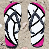 Volleyball Ball on Fuchsia Flip Flops - Kick back after a volleyball game with these great flip flops! Fun and functional flip flops for all volleyball players and fans.