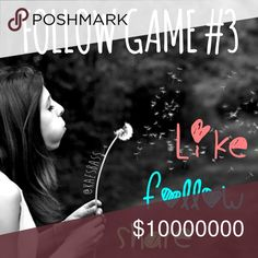 🎉Almost to 70k!🎉 LIKE 🎀FOLLOW🎀SHARE FOLLOW GAME!! Here's how to play: like this listing, follow EVERYONE that is following this listing, share the listing, and even tag some of your PFF's! Everyone who checks back often and follows all the followers will earn more followers who can see all of the listings in your closet! Cool right? Let's help each other grow and grow and grow!!!😊🌷🍀 If you have a Posh compliant closet, tag me in your Follow Game, and I'll be happy to help out!!🙋🏼…