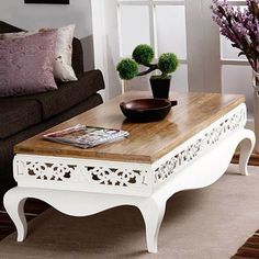 Tezerac Mong Coffee Table Natural And White,Coffee Tables