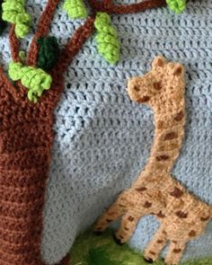 Giraffe Afghan, Pillow and Toy Crochet Pattern