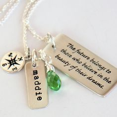 Graduation Necklace, Graduation Gift For Daughter, Compass, Dream, Believe,Class of 2015, Future Quotes for Grads, Future, Believe