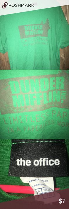 The office t-shirt DUNDER MIFFLIN T SHIRT  XL Extra Large The Office TV Show Green Vintage Style the office Shirts Tees - Short Sleeve