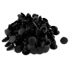 Unique Bargains 100Pcs Black Push in Type Bumper Fender Plastic Rivets Fasteners for Car