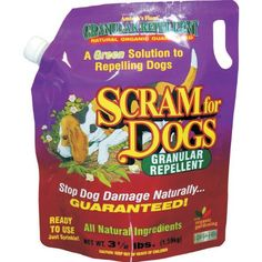 Scram for Dogs is a highly effective, fully organic, biodegradable granular dog repellent product. It will safely and naturally repel dogs away from anything you sprinkle it on - including your garden.