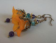 Vintage Style Bluebell Flower Earrings in by BohoVintageJewellery