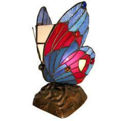 Blue Butterfly Accent Lamp Tiffany Style