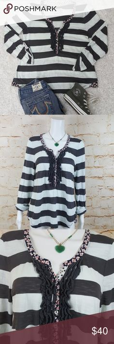 """Anthropologie Postmark mixed media v-neck henley Excellent condition no flaws Anthropologie pullover Henley wide stripes with polka dots, and flowers. Tab roll up sleeves with a ruffled button placket. 20"""" across from armpit to armpit and 27"""" long from shoulder to hem Anthropologie Tops"""
