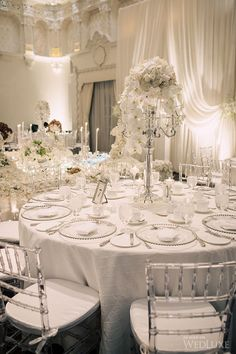 All white reception table - - Wedding colors - wedding color palettes - wedding color ideas - All White wedding ideas White Wedding Decorations, Wedding Table Settings, Reception Decorations, Wedding Centerpieces, Reception Table, Holiday Decorations, Tree Decorations, Quinceanera Centerpieces, Centrepieces