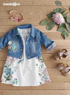 Pretty pastels, embroidered denim, florals for days.our latest exclusive collection has it all! From dresses and leggings to light jackets, you'll find just what you need to get your little girl ready for spring. Baby Outfits, Outfits Niños, Little Girl Outfits, Little Girl Fashion, Toddler Girl Outfits, Toddler Fashion, Kids Outfits, Kids Fashion, Spring Fashion