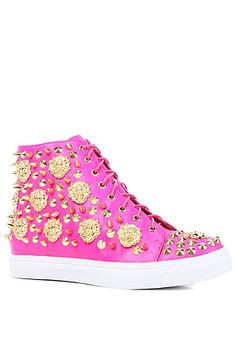 Fashion - The Adams Lion Sneaker in Fuchsia and Gold by Jeffrey Campbell
