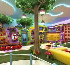 Casas Kids Play Area Indoor, Kids Indoor Playground, Playground Design, Kindergarten Interior, Kindergarten Design, Piscina Playground, Preschool Rooms, Kids Cafe, Home Daycare