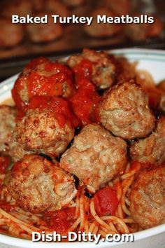 Baked Turkey Meatballs by Dish Ditty Recipes