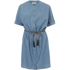 Sessùn Denim Dumdum Dress (£125) ❤ liked on Polyvore featuring dresses, loose fitting dresses, tie belt, blue button down dress, rope belt and elastic waist dress