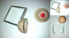 Anillo plata con bola de madera
