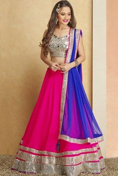 Pink #Lehenga With Silver Mirrorwork #Blouse & Blue Dupatta.