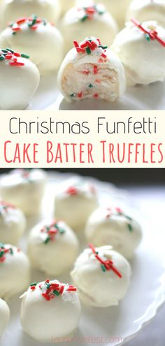 christmas cake Christmas Funfetti Cake Batter Truffles - These homemade truffles are an easy and fun no-bake treat for the holidays! They can be made from scratch in just 20 minutes and make for the perfect Christmas gift! Christmas Truffles, Christmas Sweets, Christmas Cooking, Christmas Parties, Christmas Treat Gifts, Christmas Christmas, Colleague Christmas Gifts, Diy Christmas Snacks, Holiday Baking Ideas Christmas
