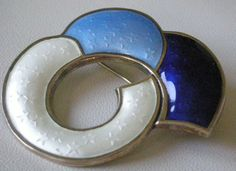 Abstract  Blue Enamel with Stars + Sterling Pin by J. Tostrup Norway