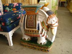 Terra Cotta Elephant Garden Seat In Good As Found VINTAGE Condition. There  Are Scuffs, Scrapes And Old Repairs To The Finish.