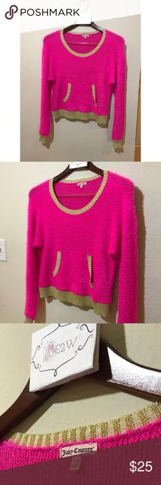 Juicy Couture Pink/Gold Sweater 👚 Softest sweater ever! In perfect condition. Juicy Couture Sweaters Crew & Scoop Necks