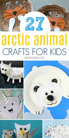 Easy arctic animal crafts for kids with polar bear crafts, walruses, narwhals, snowy owls and more.