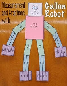 Gallon Robot is a terrific model to use for teaching both customary capacity units and reinforcing fraction concepts. Read this post to discover how Gallon Robot can come to the rescue if your students are struggling with measurement and fractions! Measurement Activities, Math Measurement, Math Activities, Math Games, Capacity Activities, Measurement Conversion, Gallon Man, Fourth Grade Math, Homeschool Math