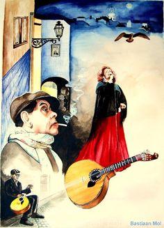 je kunt hier voorstellingsaspecten zien zoals de mensen de vogels en de banjo