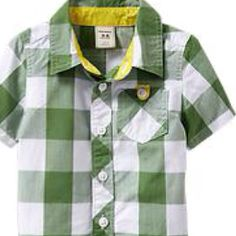 Plaid shirt to go over the st. Patrick's day onesie.