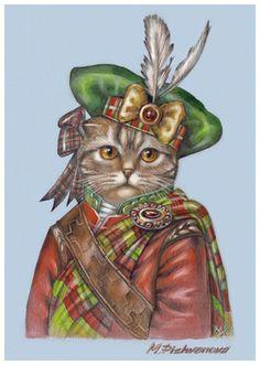 """Scottish Fold. The Brave"". Art Print 11.7'' x 16.5''. Painted by Maria Pishvanova for Animal Century Art Collection #scottishfold #cat"