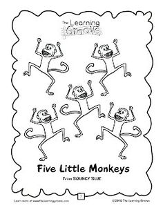 5 Little Monkeys Printables (and finger puppets), a
